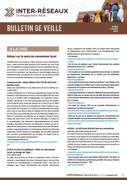 Bulletin de veille n°394