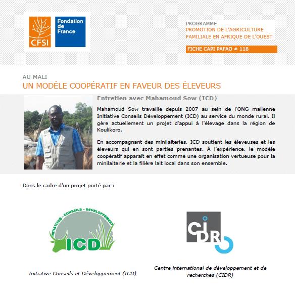 Fiche d'entretien :  Au Mali, un modèle coopératif en faveur des éleveurs
