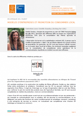 Fiche d'entretien : Modèles d'entreprises et promotion du consommer local en Afrique de l'Ouest
