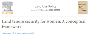 Article de recherche - Land tenure security for women: A conceptual framework