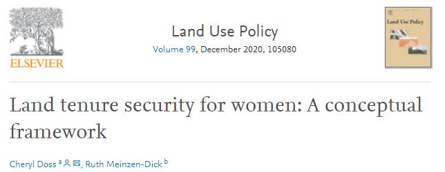 Article de recherche - Land tenure security for women: A conceptual framework