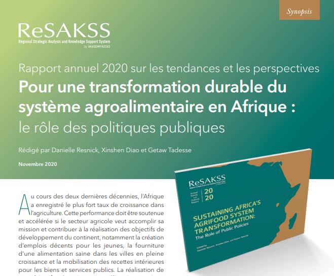 Rapport annuel 2020 sur les tendances et les perspectives: Pour une transformation durable du système agroalimentaire en Afrique: Le rôle des politiques publiques