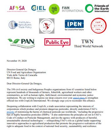 Article - Le rapprochement entre la FAO et le lobby des pesticides inquiète scientifiques et ONG