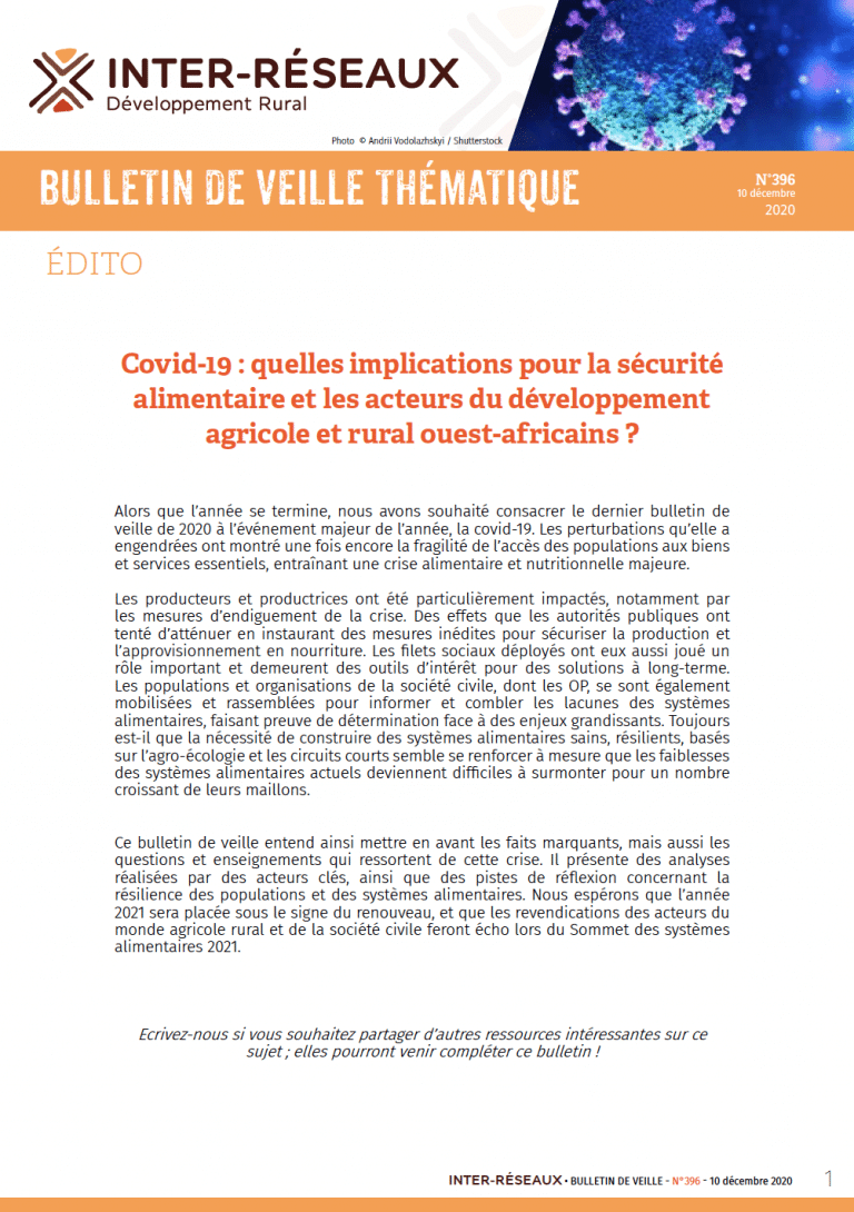 Bulletin de veille n° 396 - Covid-19 : quelles implications pour la sécurité alimentaire et les acteurs du développement agricole et rural ouest-africains ?