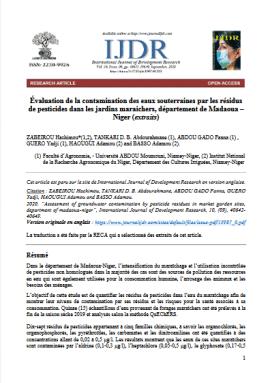 Article scientifique - Évaluation de la contamination des eaux souterraines par les résidus de pesticides dans les jardins maraichers