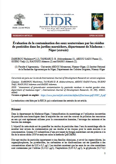 Article scientifique - Évaluation de la contamination des eaux souterraines par les résidus de pesticides dans les jardins maraichers, département de Madaoua – Niger (extraits)