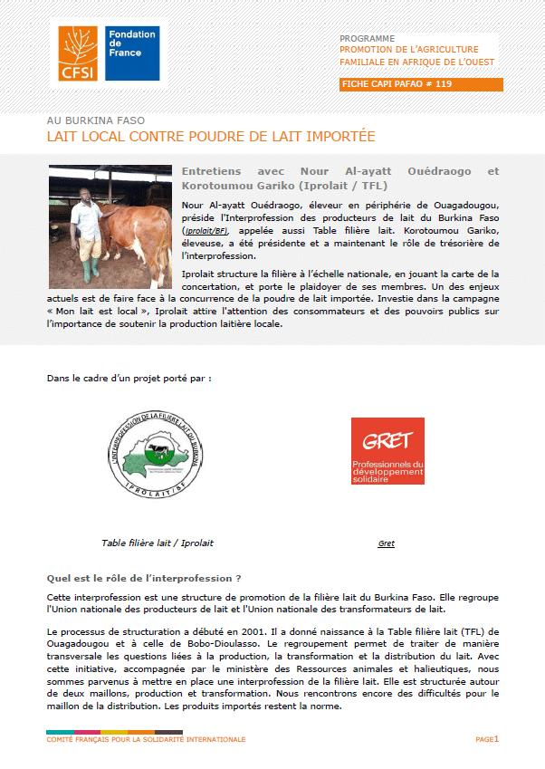 Fiche d'entretien :  Au Burkina Faso, lait local contre poudre de lait importée