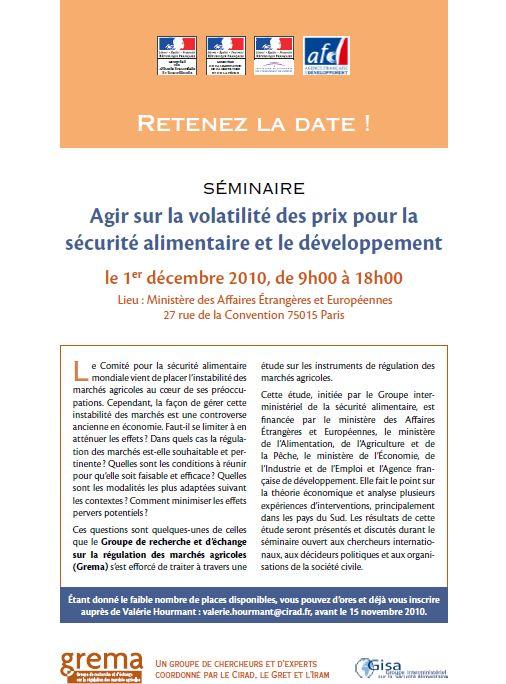 Séminaire « Agir sur la volatilité des prix pour la sécurité alimentaire et le développement » - 1er décembre 2010, Paris