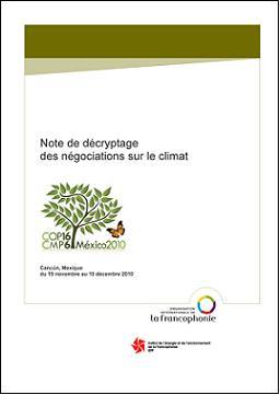 Note de décryptage des négociations sur le climat : Cancún