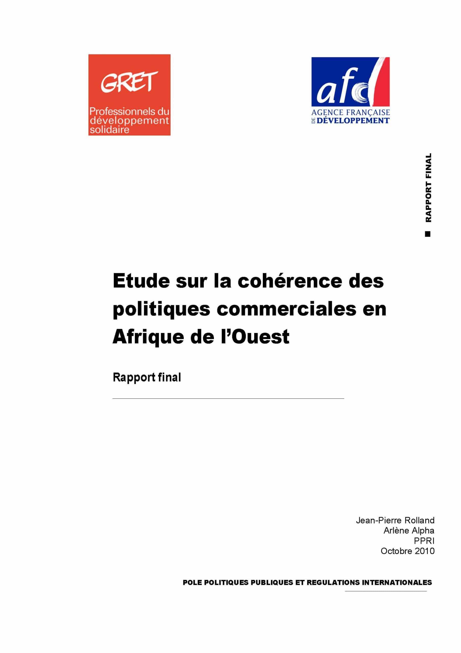Etude sur la cohérence des politiques commerciales en Afrique de l'Ouest : rapport final