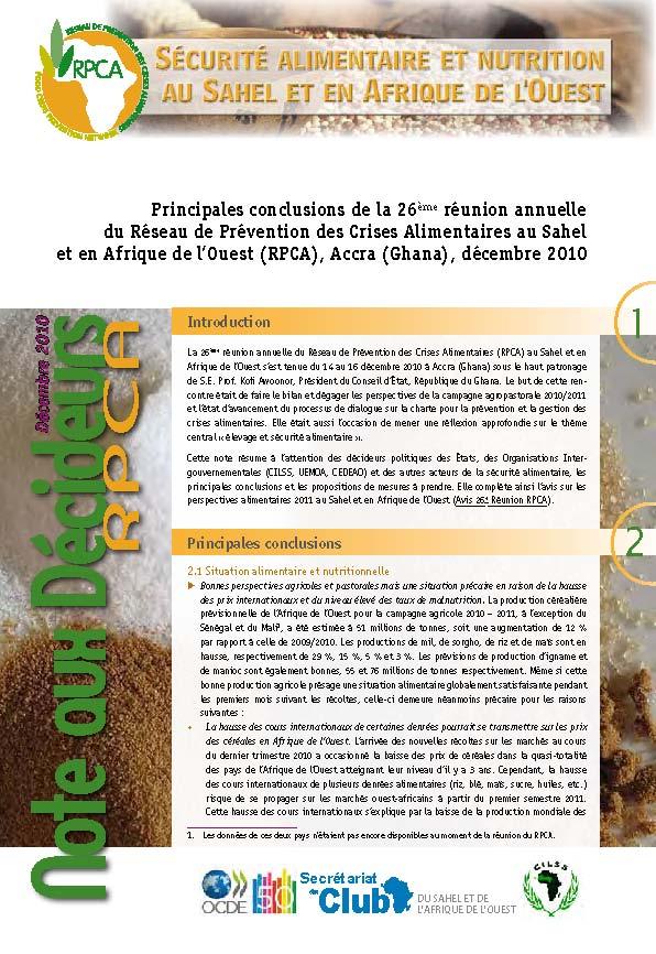 Principales conclusions de la 26ème réunion annuelle du Réseau de Prévention des Crises Alimentaires au Sahel et en Afrique de l'Ouest (RPCA), Accra (Ghana), décembre 2010