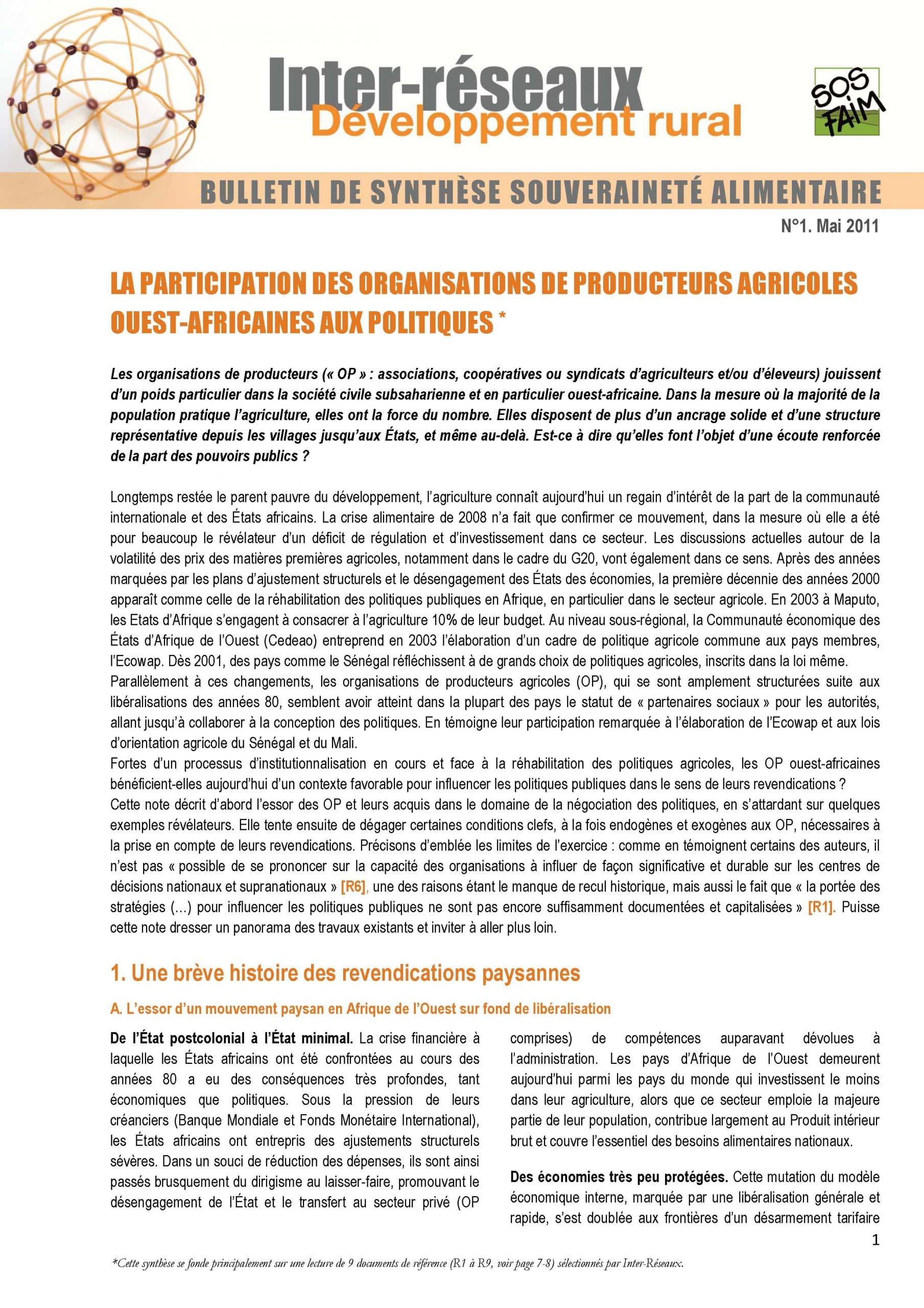 Bulletin de synthèse n°1 - La participation des OP ouest africaines aux politiques