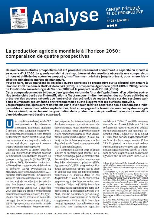 La production agricole mondiale à l'horizon 2050 : comparaison de quatre prospectives