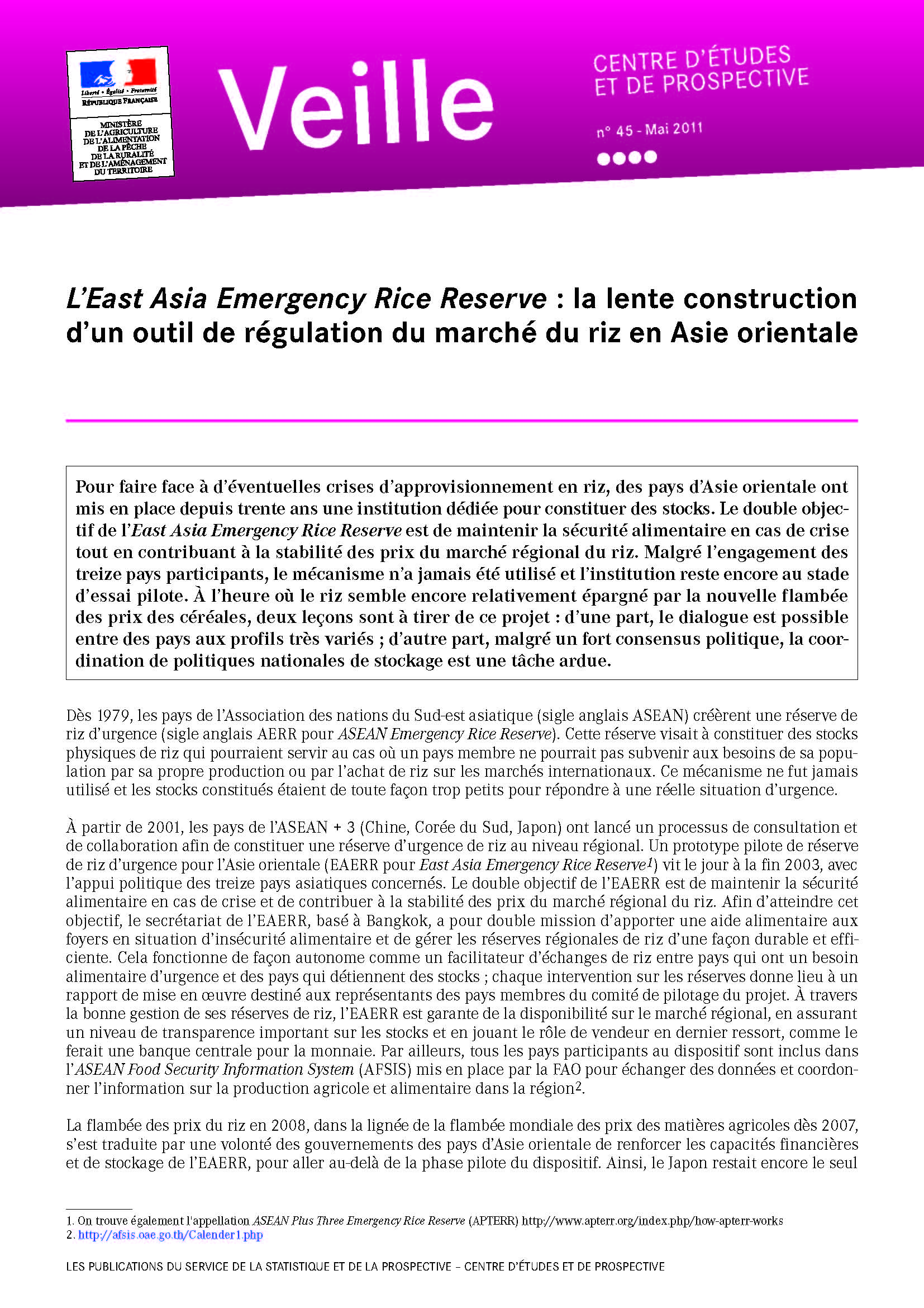 L'East Asia Emergency Rice Reserve : la lente construction d'un outil de régulation du marché du riz en Asie orientale
