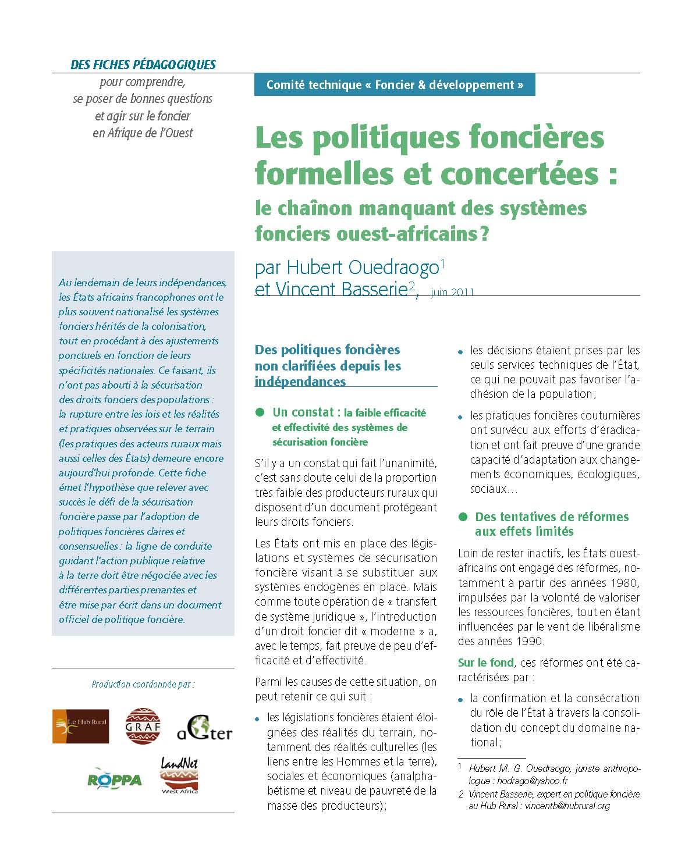 Les politiques foncières formelles et concertées : le chainon manquant des systèmes fonciers ouest-africains ?