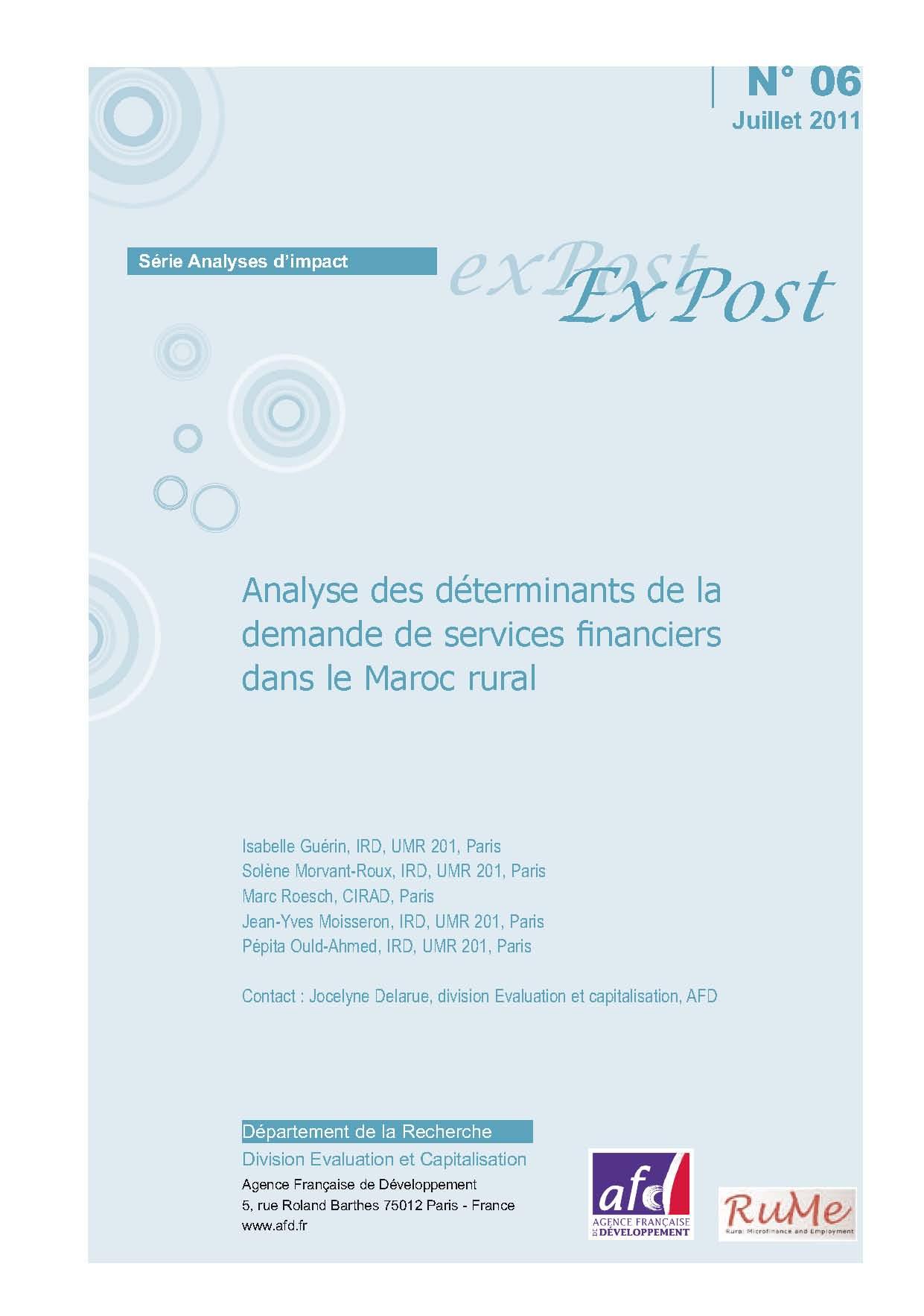 Analyse des déterminants de la demande de services financiers dans le Maroc rural