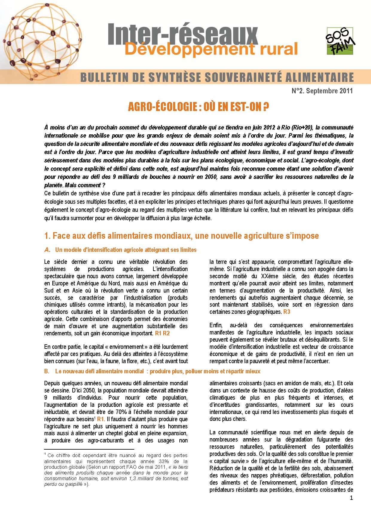 Bulletin de synthèse n°2 - Agro-écologie : où en est-on ?