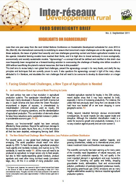 Food Sovereignty Brief n°2 - Highlights on Agroecology