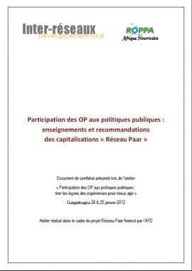 Synthèse des capitalisations PAAR : participation des OP ouest-africaines aux politiques