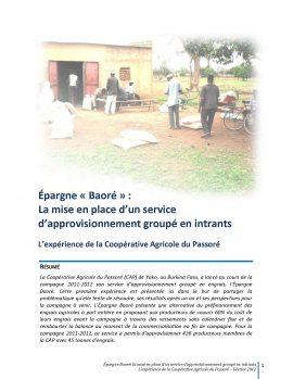 Épargne « Baoré » : La mise en place d'un service d'approvisionnement groupé en intrants