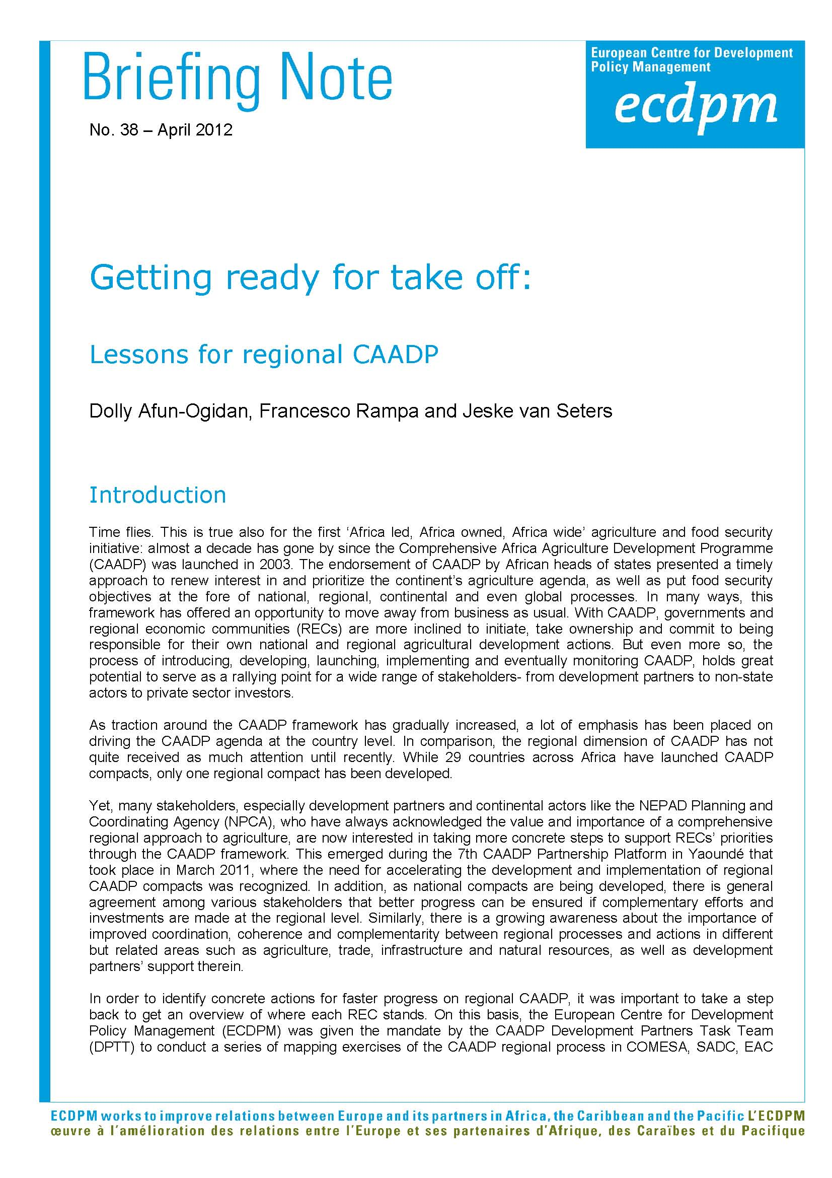 Getting ready for take off: Lessons for regional CAADP