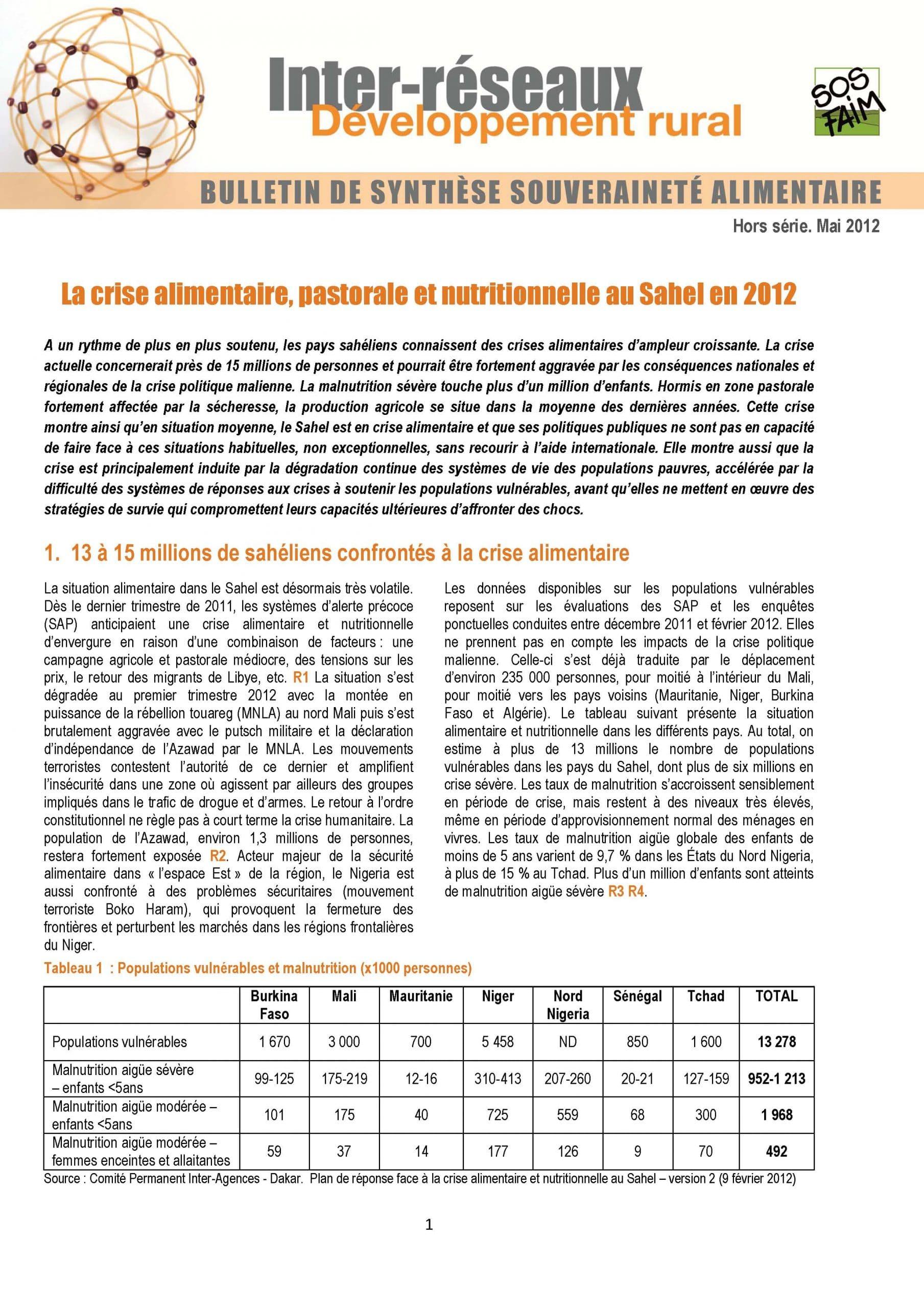 Bulletin de synthèse 5 - La crise alimentaire, pastorale et nutritionnelle au Sahel en 2012