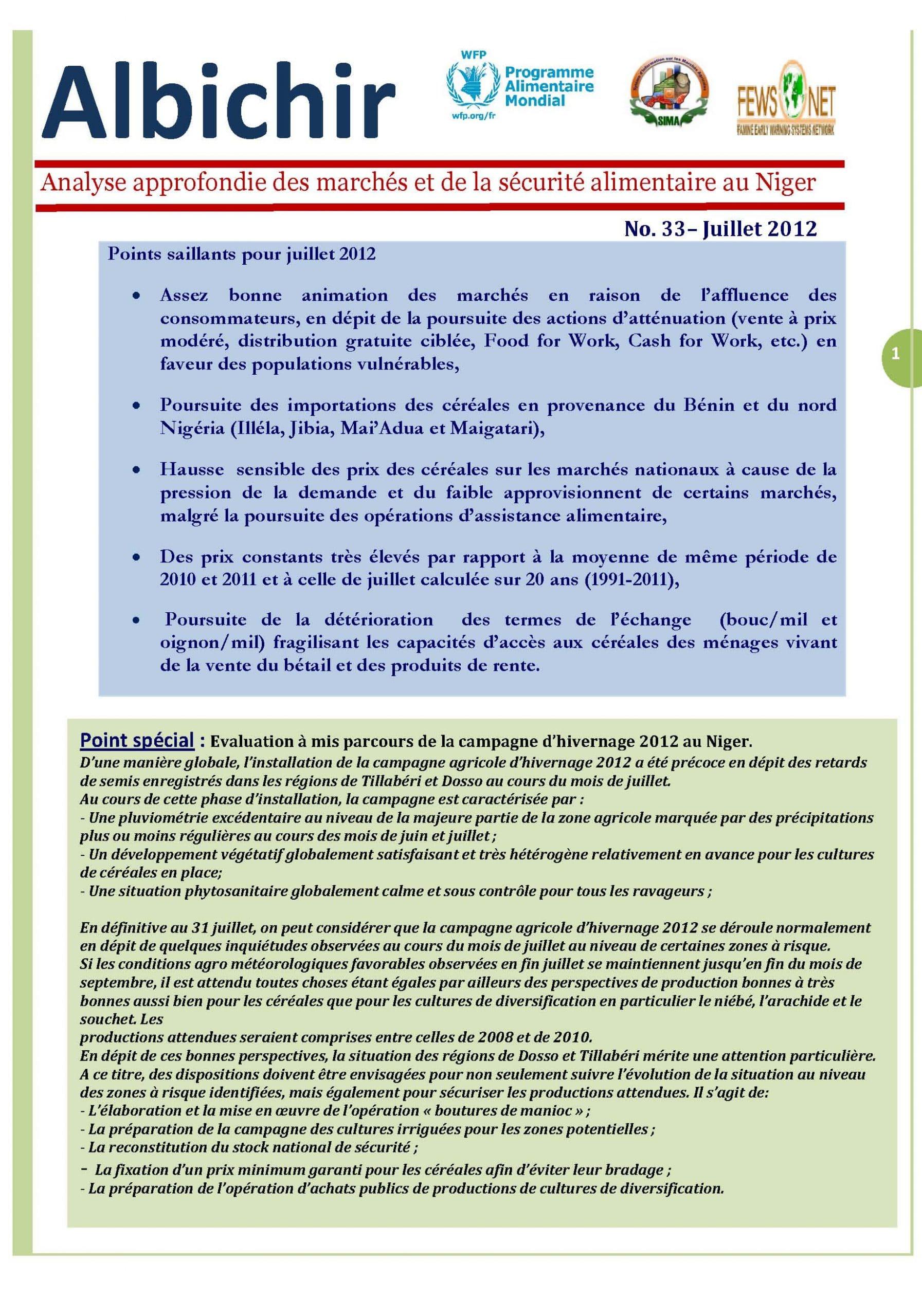 ALBICHIR : Analyse approfondie des marchés et de la sécurité alimentaire au Niger - No. 33– Juillet 2012