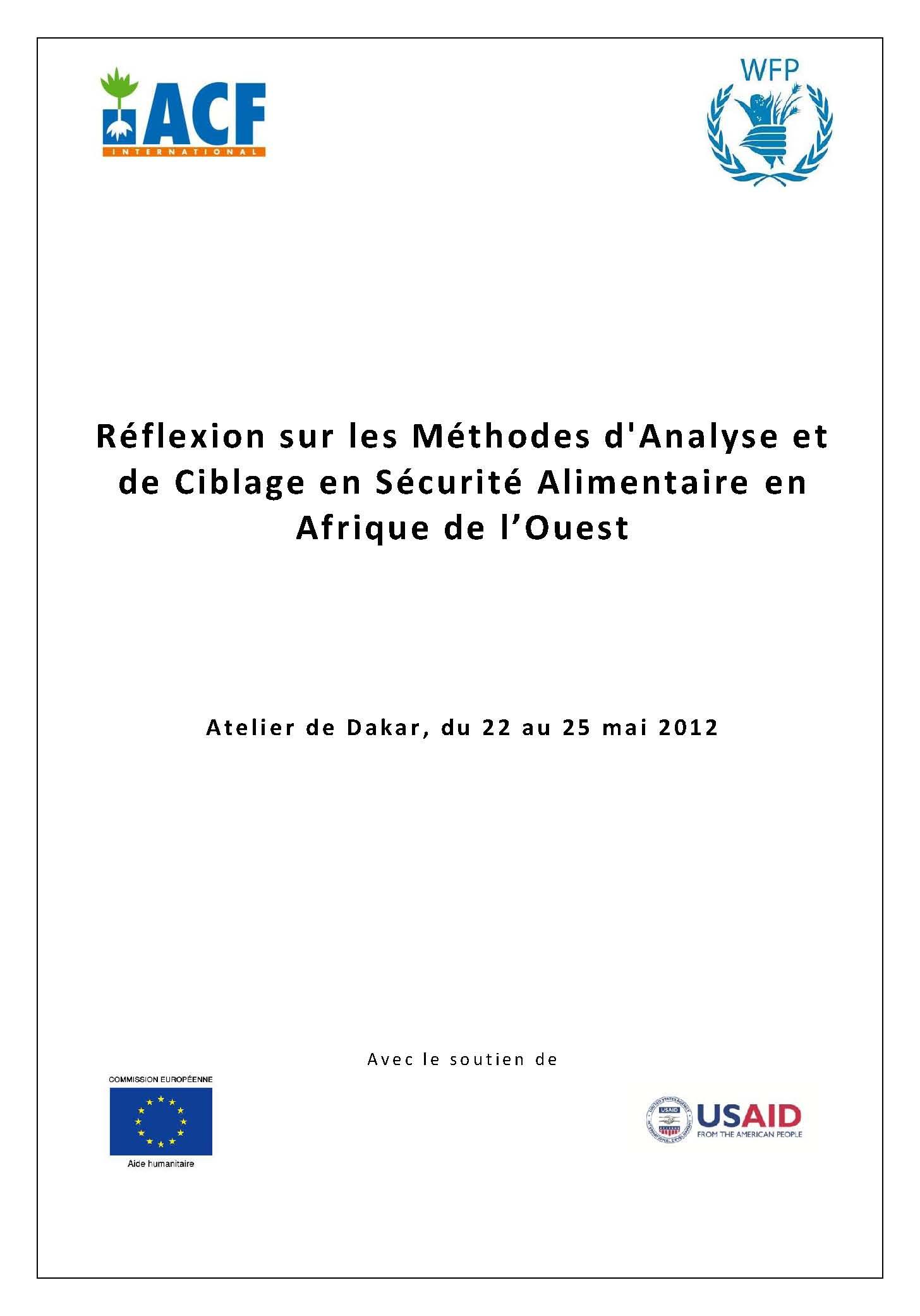 Réflexion sur les Méthodes d'Analyse et de Ciblage en Sécurité Alimentaire en Afrique de l'Ouest