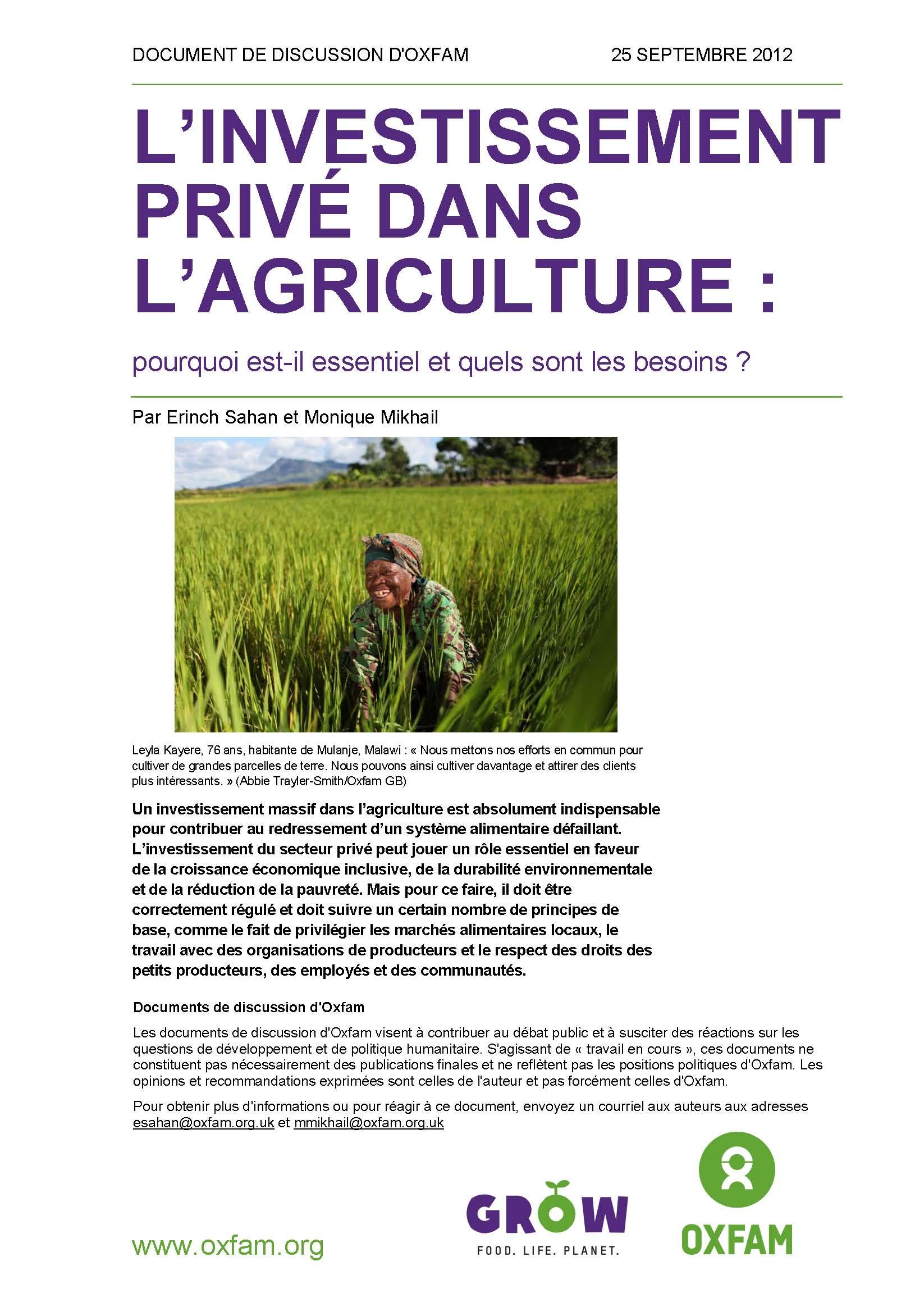 Rapport d'Oxfam :  L'investissement dans l'agriculture. Pourquoi est-il essentiel et quels sont les besoins ?