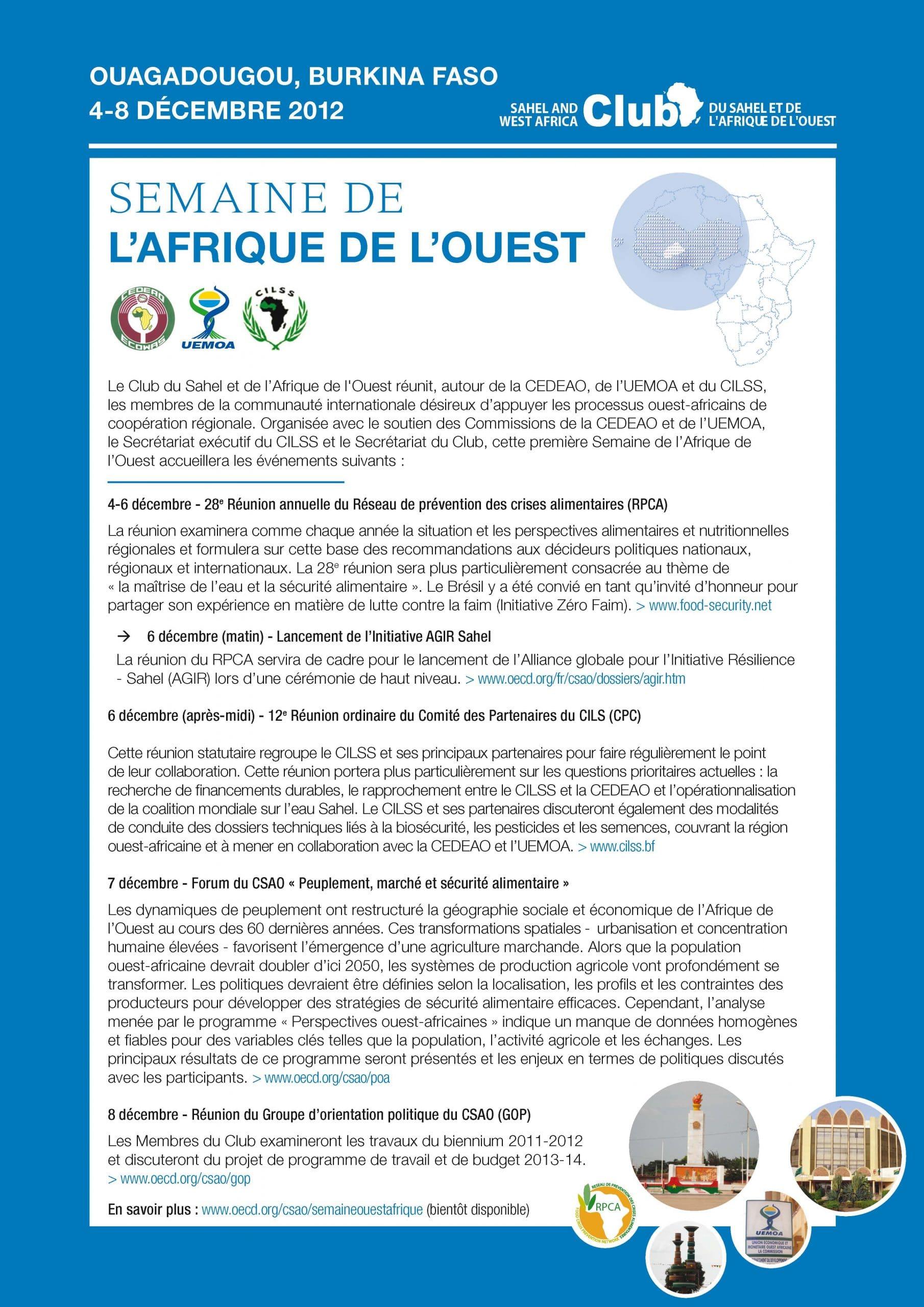 4-8 décembre 2012, Ouagadougou (Burkina Faso) : Semaine de l'Afrique de l'Ouest