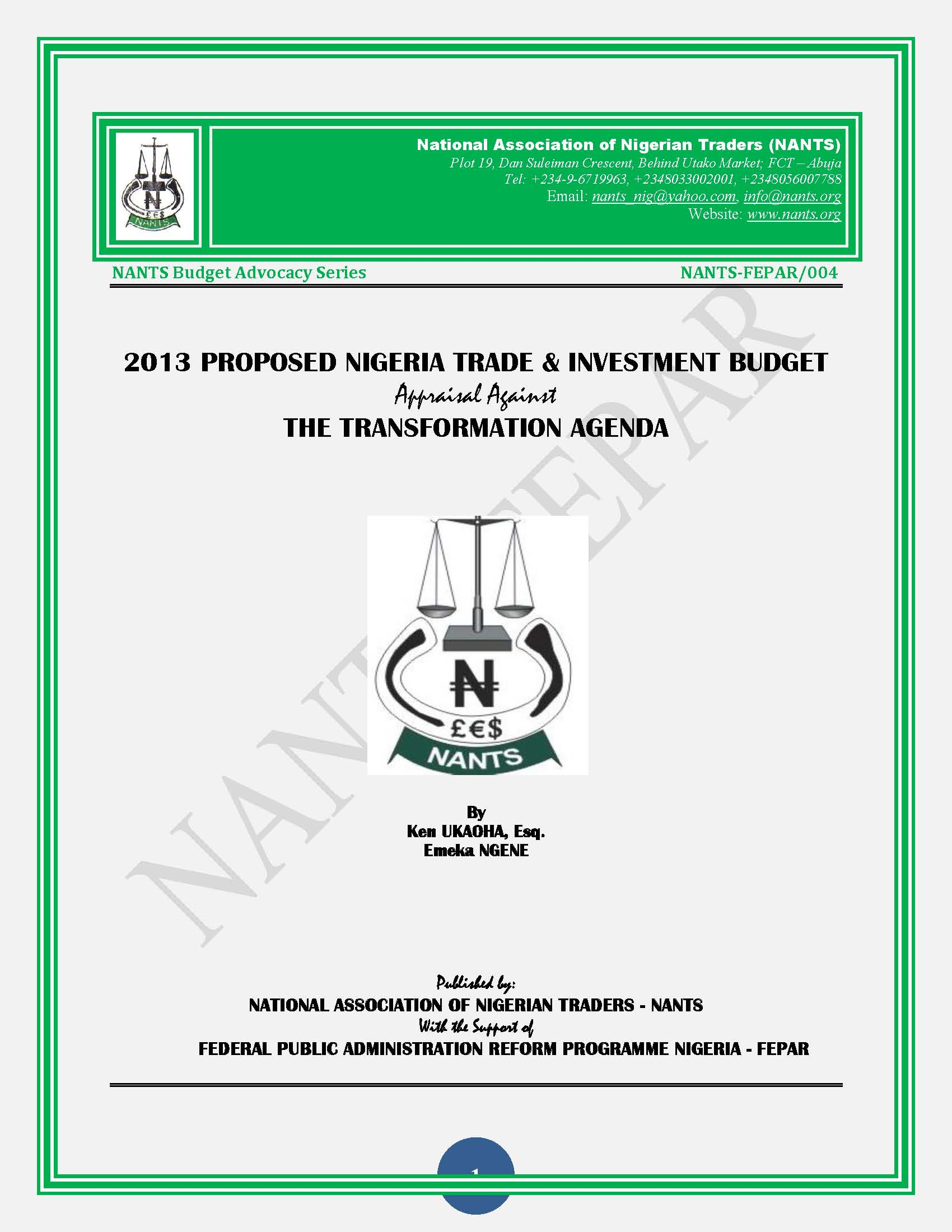 NANTS (Nigeria) : Review of the Proposed 2013 Agriculture Budget and Trade & Investment Budget