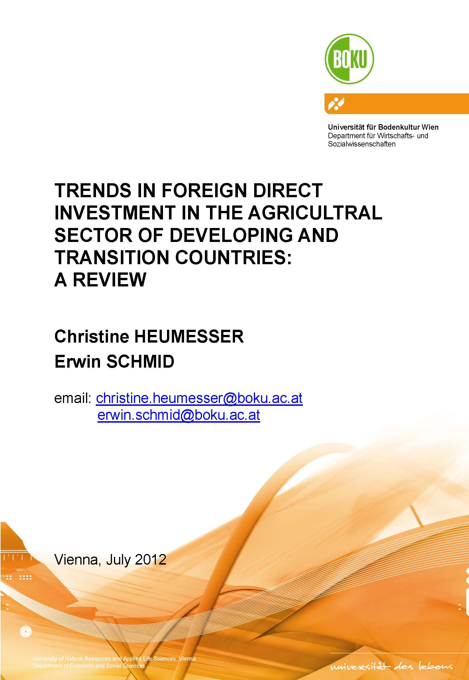 Trends in foreign direct investment in the agricultural sector of developing and transition countries : a review