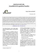 Madagascar : Actualités de la question foncière