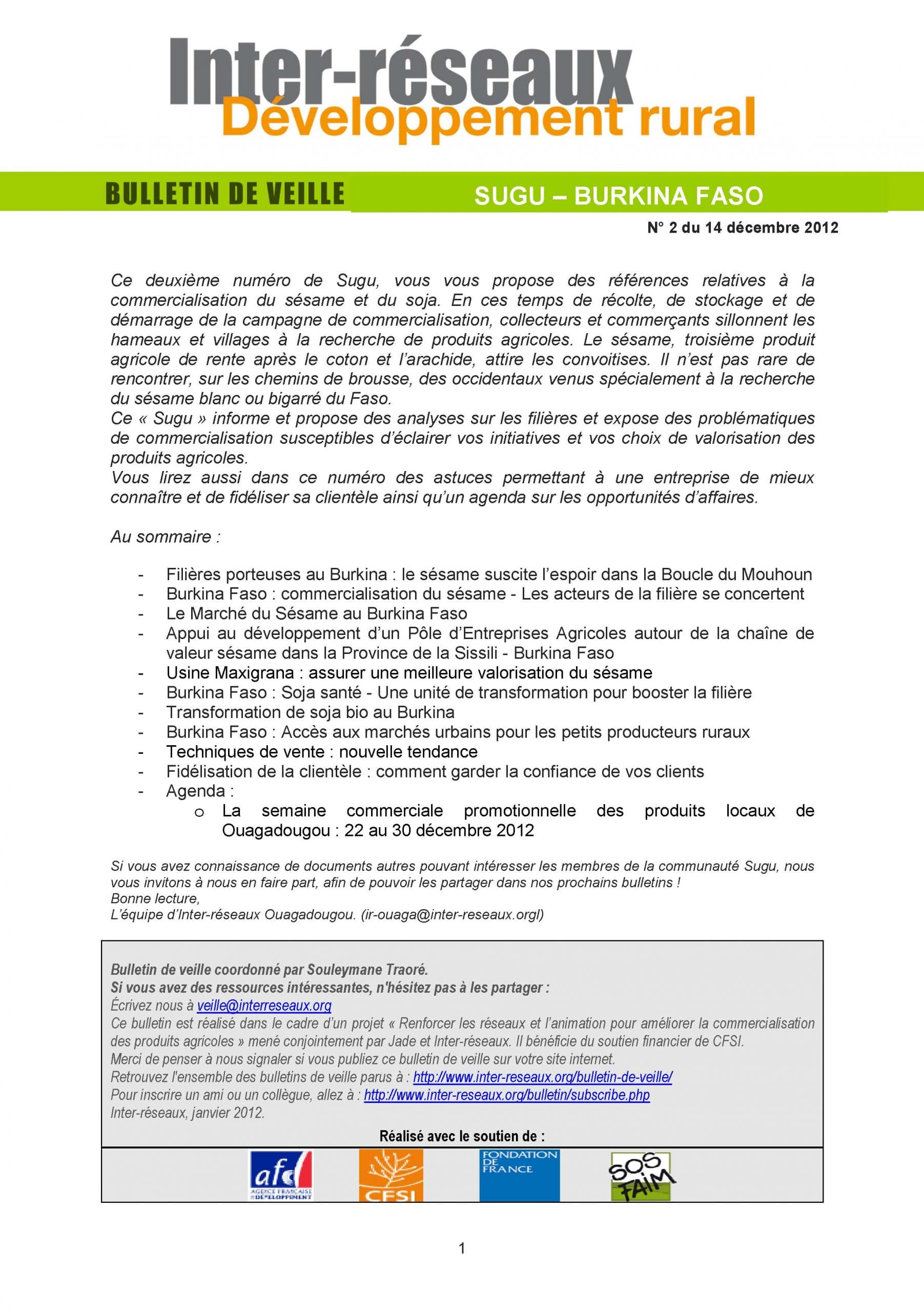 Bulletin SUGU N° 2 - Commercialisation du sésame et du soja au Burkina