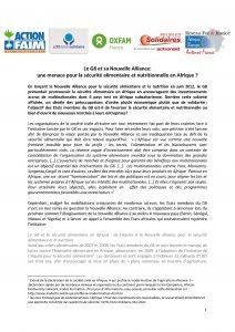 Communiqué d'ONG : Le G8 et sa Nouvelle Alliance: une menace pour la sécurité alimentaire et nutritionnelle en Afrique ?