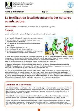 Fiche : La fertilisation localisée au semis des cultures ou microdose