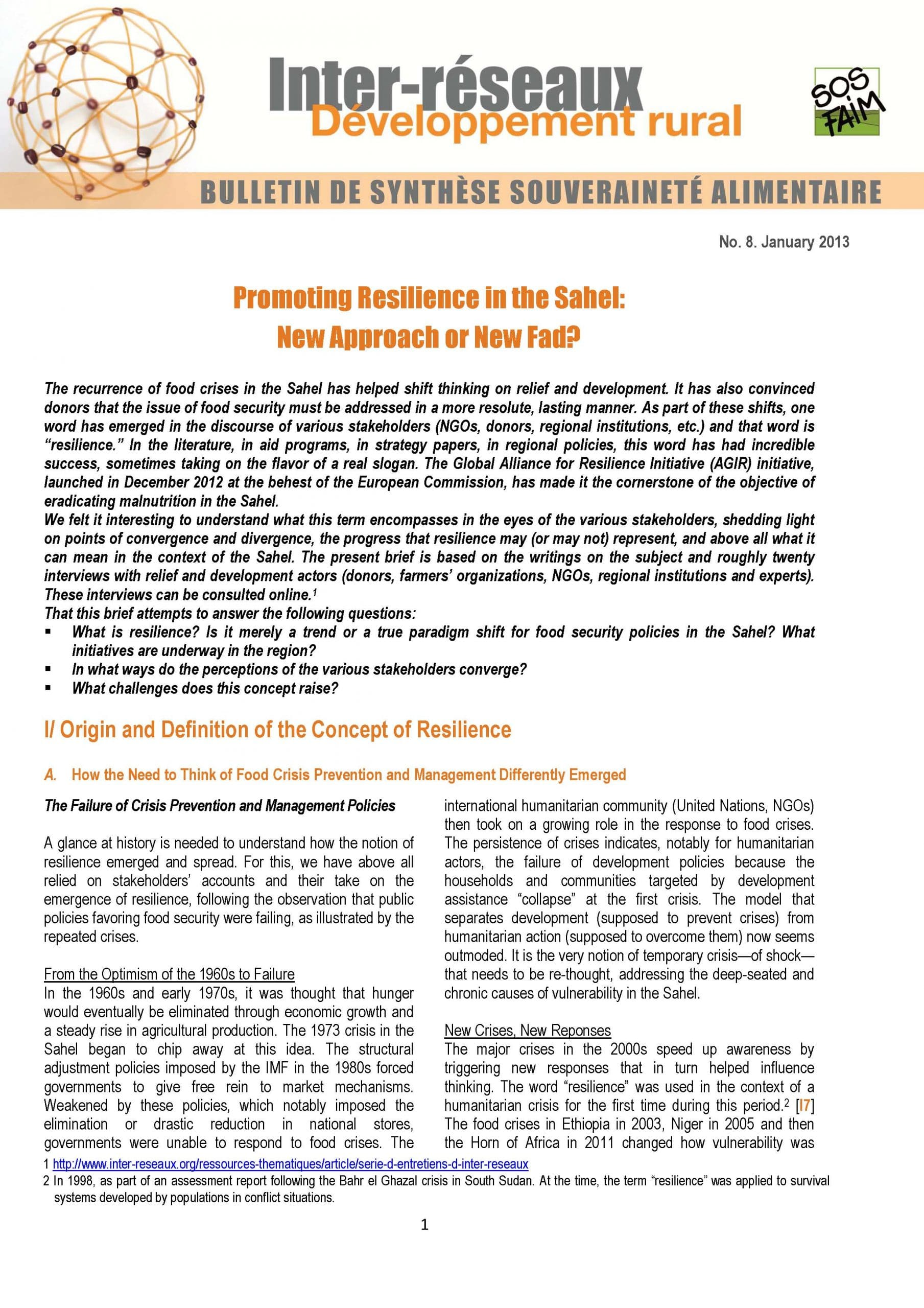 Food Sovereignty Brief n°8 - Promoting Resilience in the Sahel:  New Approach or New Fad?