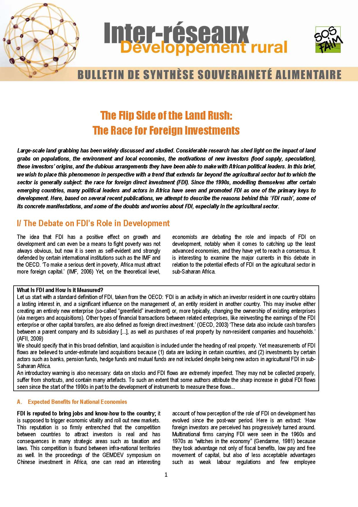 Food Sovereignty Brief n°7 - The Flip Side of the Land Rush: The Race for Foreign Investments