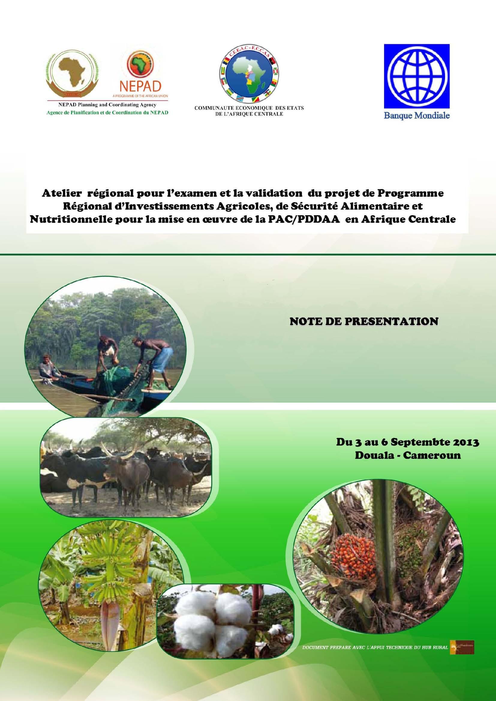 3-6 septembre 2013, Douala (Cameroun) - Atelier de validation du Programme Régional d'Investissement Agricole, de Sécurité Alimentaire et Nutritionnelle de la CEEAC