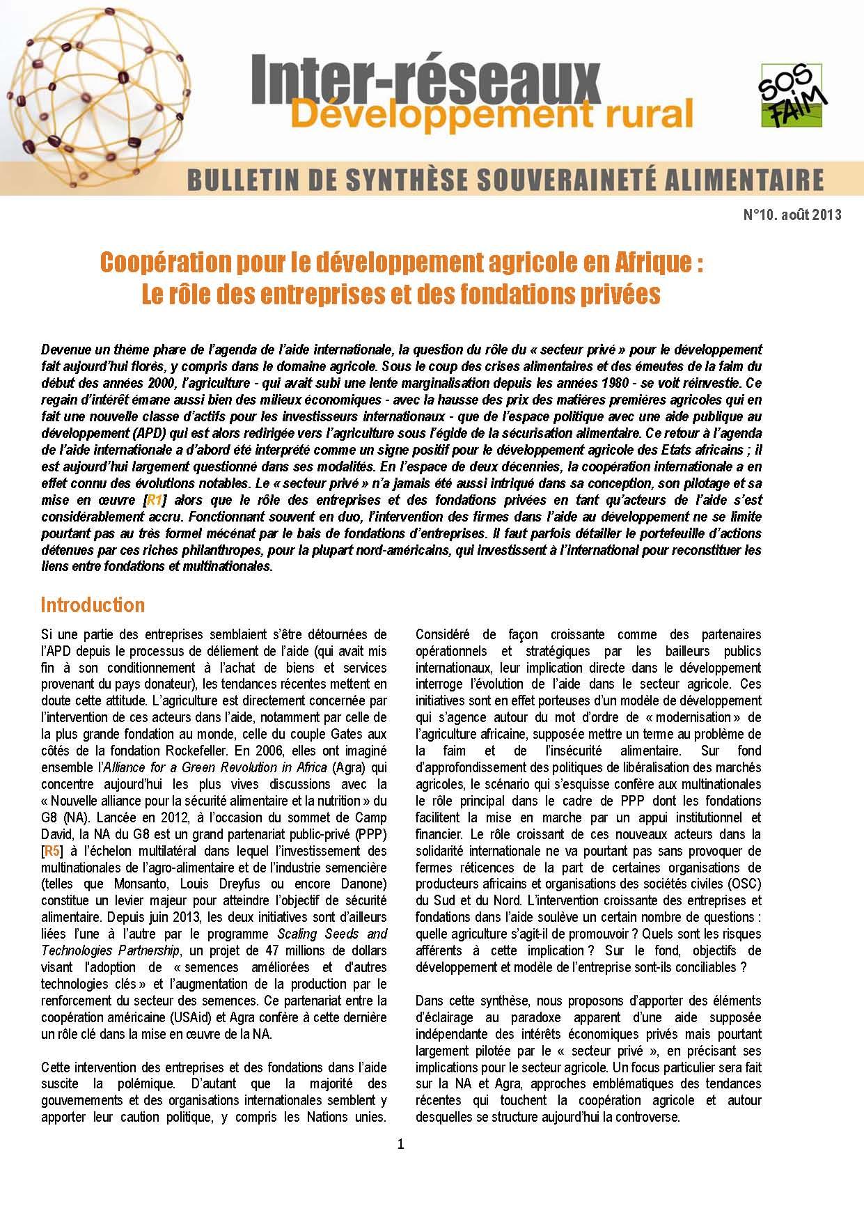 Bulletin de synthèse n°10 - Coopération pour le développement agricole en Afrique : Le rôle des entreprises et des fondations privées