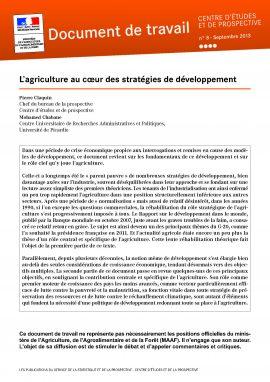 Document de travail : L'agriculture au coeur des stratégies de développement