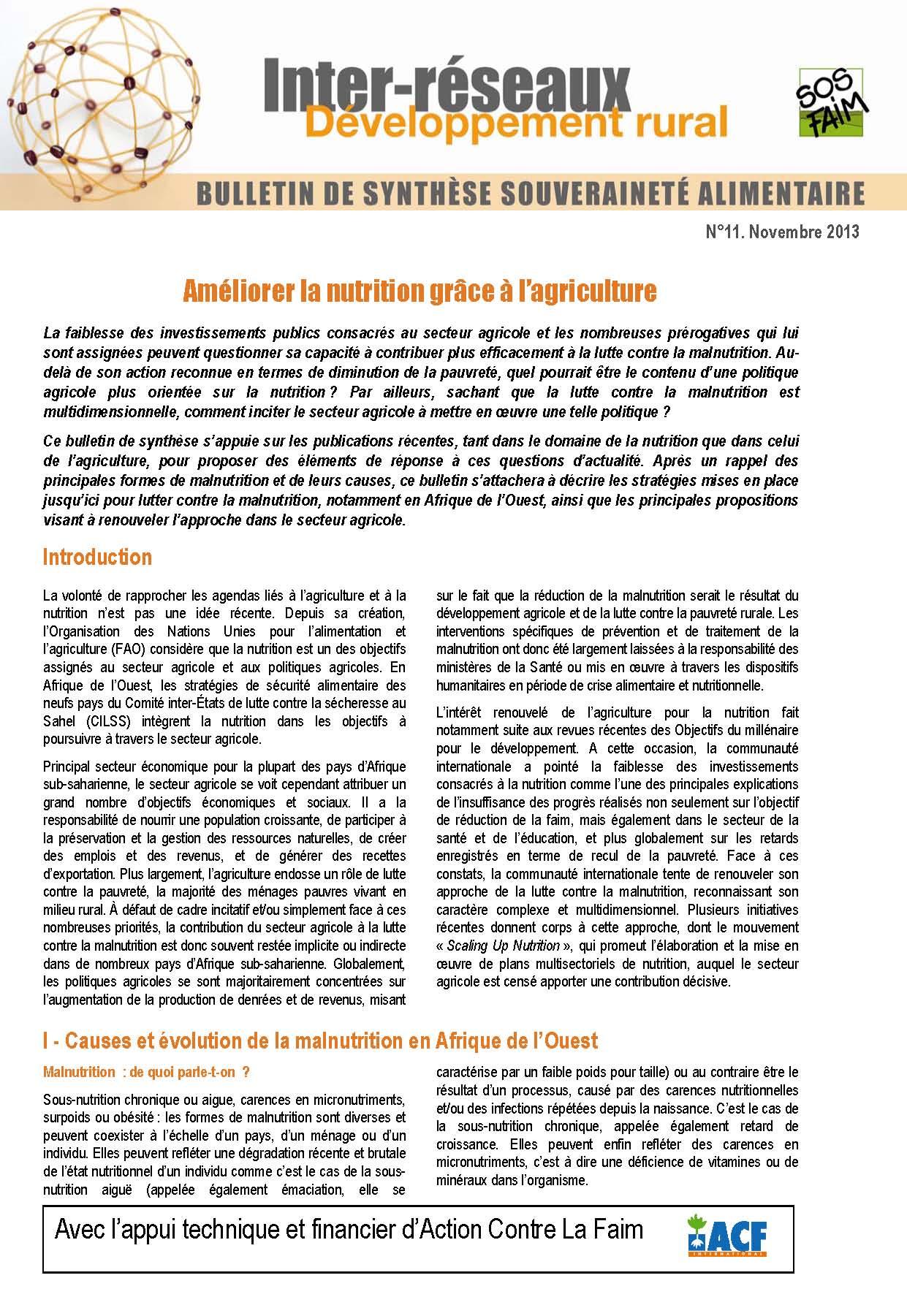 Bulletin de synthèse n°11 - Améliorer la nutrition grâce à l'agriculture