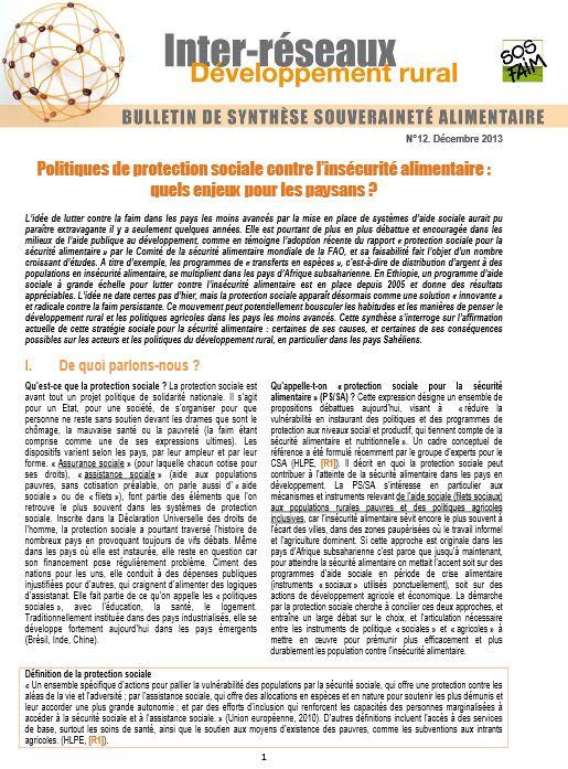 Bulletin de synthèse n°12 - Politiques de protection sociale contre l'insécurité alimentaire : quels enjeux pour les paysans ?