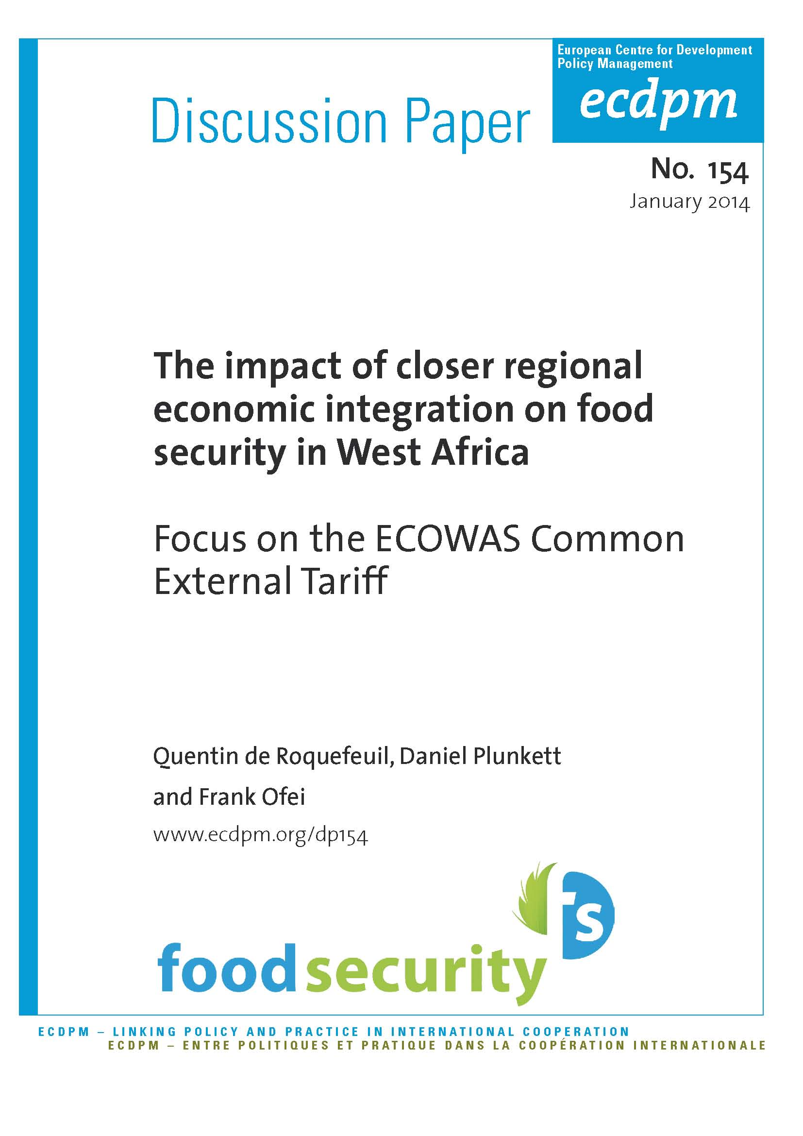 The impact of closer regional economic integration on food security in West Africa: Focus on the ECOWAS Common External Tariff