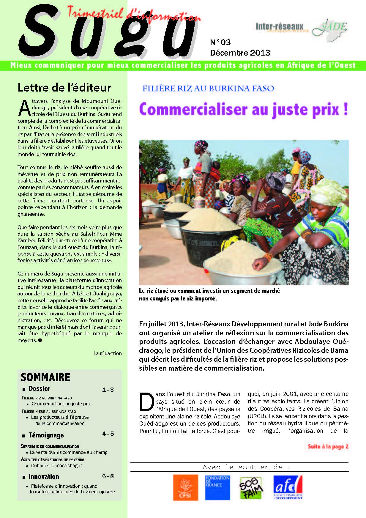 Sugu : mieux communiquer pour mieux commercialiser les produits agricoles en Afrique de l'Ouest