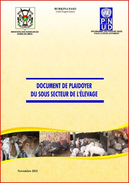 Burkina Faso : Document de plaidoyer du sous secteur de l'élevage