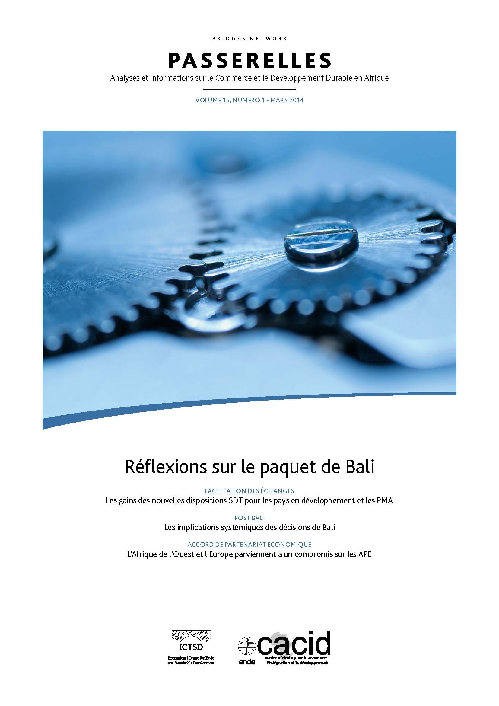 Passerelles (vol. 15, num. 1, mars 2014) : Réflexions sur le paquet de Bali