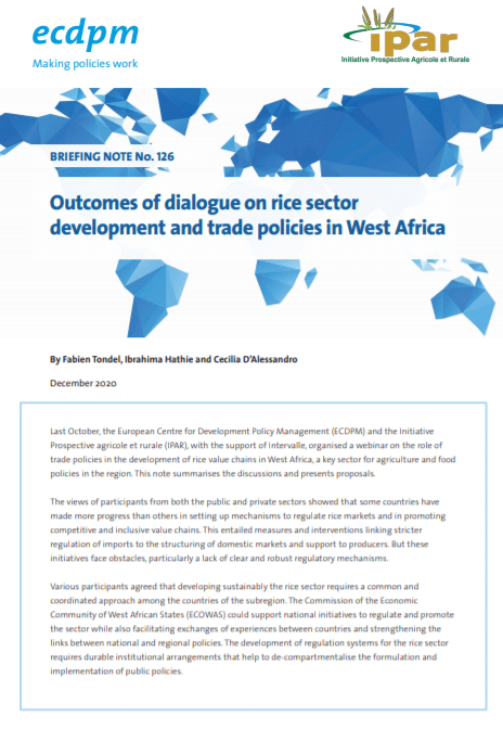 Outcomes of dialogue on rice sector development and trade policies in West Africa