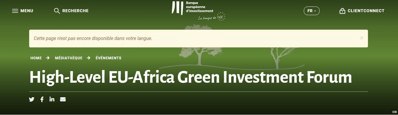 Forum de haut niveau Afrique-Europe sur l'Investissement Vert