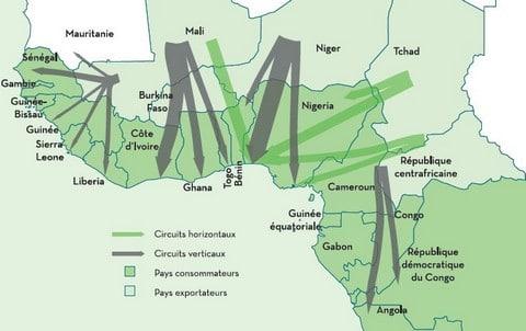 Esquisse des principaux circuits de commercialisation du bétail en Afrique Centrale et de l'Ouest